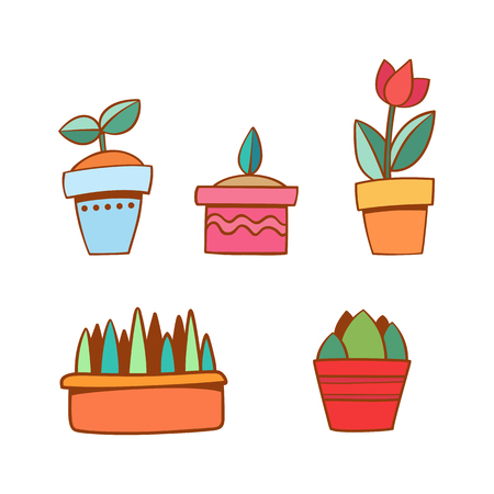 Vector set with flat flowers in pots. Cute hand draw. Stock Illustratie