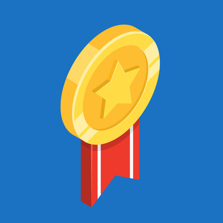 Gold medal with ribbon. First place. Flat 3d vector isometric illustration.