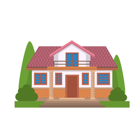 Colorful Flat Residential House. Private residential architecture. Family home. Traditional and modern house. Flat style vector illustration