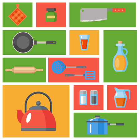 Kitchen utensils set. Kitchenware, cookware, kitchen tools collection. Modern flat icons set, graphic elements, objects for website, web banner, infographics. Flat design concept. Pattern