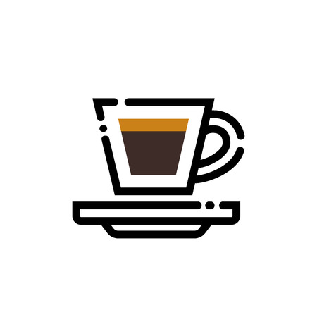 Coffee espresso cup line art illustration. Line icon- cup Stock Illustratie