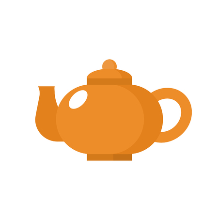 Teapot Orange icon in a flat style. Sign design.