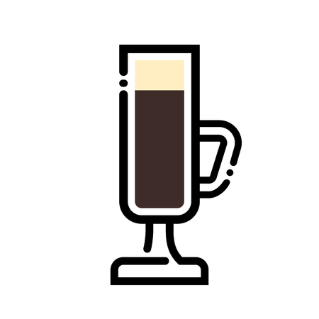 Irish coffee cup line art illustration. Line icon- cup