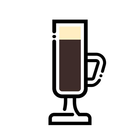 Irish coffee cup line art illustration. Line icon- cup