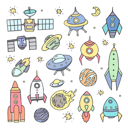 Collection of hand drawn colored space objects.