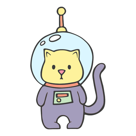Funny feline in astronaut suit icon