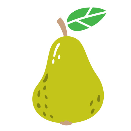 Cartoon ripe pear on a white background. Pear Icon in Color. Vector illustration