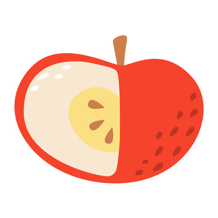 Cartoon apple on a white background. Apple Icon in Color. Vector illustration