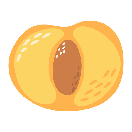 Cartoon peach on a white background. Peach Icon in Color. Vector illustration