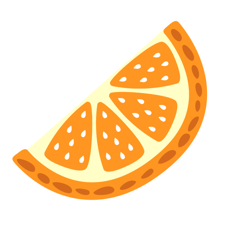 Cartoon orange slice on a white background. Orange slice Icon in Color. Vector illustration