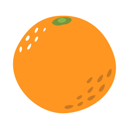 Cartoon orange on a white background. Orange Icon in Color. Vector illustration