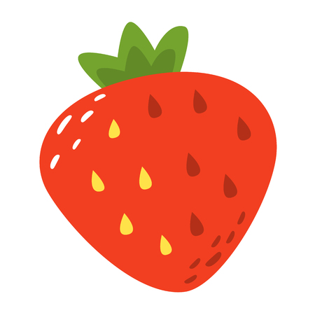 Cartoon strawberry slice on a white background. Strawberry slice Icon in Color. Vector illustration