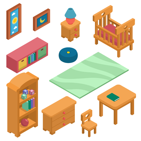 Furniture set Isometric. Vector Illustration Created For Mobile, Web, Decor, Print Products, Application on white background