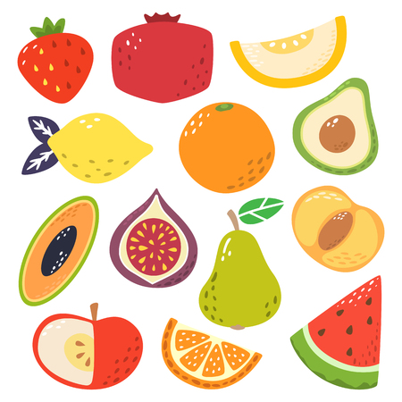 Cute bright colors of fruits vector collections. Available in eps10. Stock Illustratie