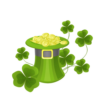 lucky clover: St. Patricks hat with coins and clovers