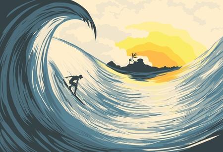 surf silhouettes: Isola tropicale wave e surfista al tramonto Vettoriali