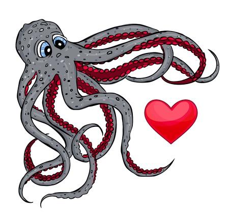 illustratie van octopus die hart vangt Stock Illustratie
