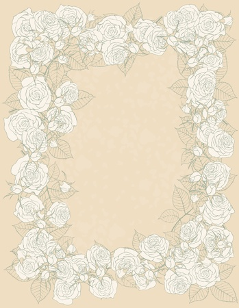 background with frame of roses Stock Vector - 9134094