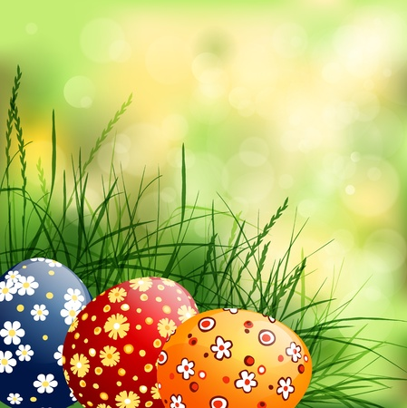grass line: spring background with  Easter eggs
