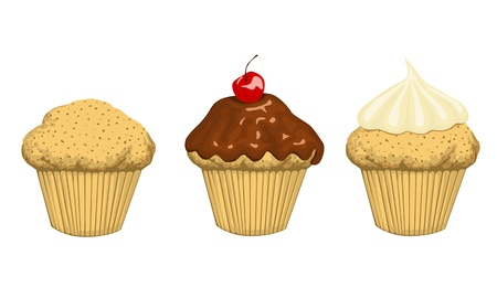 set of 3 cup cakes
