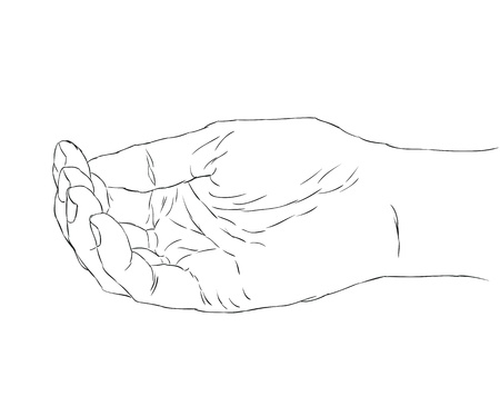 open hand: cupped female hand