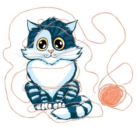 gato jugando: Ilustraci�n de dibujos animados de gato jugando con la pelota de hilo