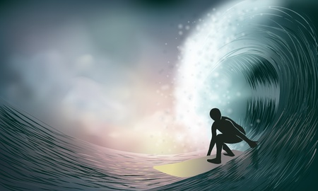 surfer and wave at sunset Stock Illustratie