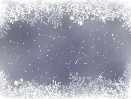 winter background with fir branches and snow Illustration
