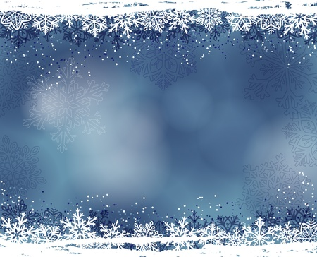 Winter background with snowflakes Stock Illustratie