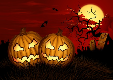 halloween background with two pumpkins and cemetery Vector