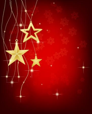 Kerstmis achtergrond met sterren en verlichting Stockfoto - 9807581
