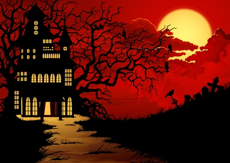 scary night: Halloween background with haunted house and cemetery