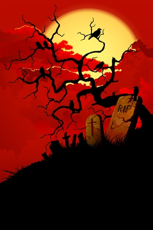 raven: Halloween background with tree, crows and cemetery