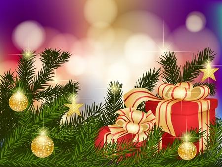 Ramas de abeto con regalos de Navidad, lentejuelas y estrellas
