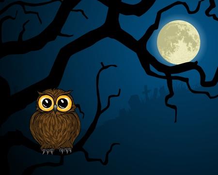 buhos y lechuzas: Ilustraci�n de Linda b�ho en rama y Luna llena