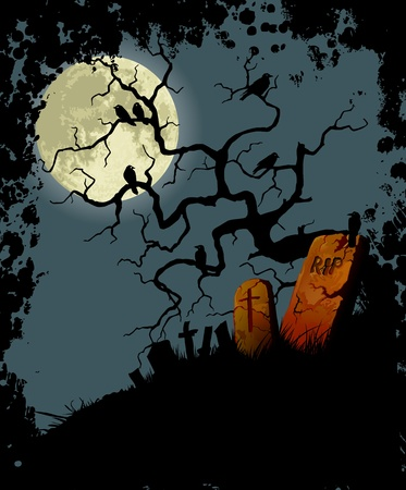Fondo Halloween con árbol, cuervos y cementerio