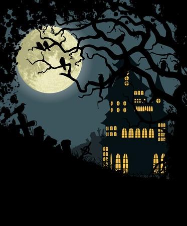 horror castle: Fondo de Halloween con casa embrujada, �rbol, cuervos y cementerio Vectores