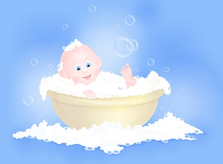 bubble bath: cute baby boy having bath in tub with foam Illustration