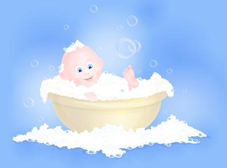 boy bath: cute baby boy having bath in tub with foam Illustration
