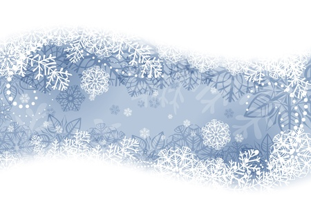 Winter background with snowflakes and fir branches