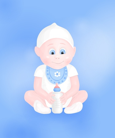 cute baby boy with milk bottle on blue background Vector
