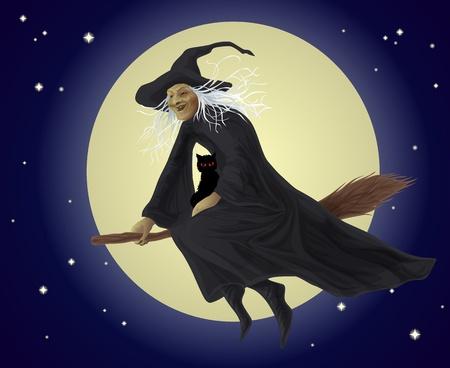 escoba: Vieja bruja y gato negro volando en una escoba Vectores