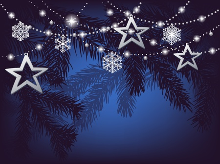 Christmas background with fir branches, stars and snowflakes