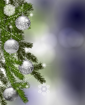 fir tree balls: Fir branches with Christmas decoration Illustration