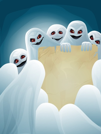 Halloween background with group of ghosts and paper