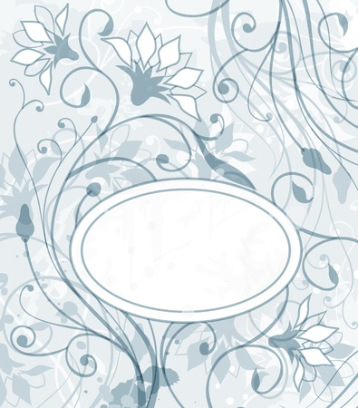 grunge floral: abstract background with floral elements and label