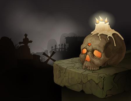 Halloween background with human skull, candles and graveyard