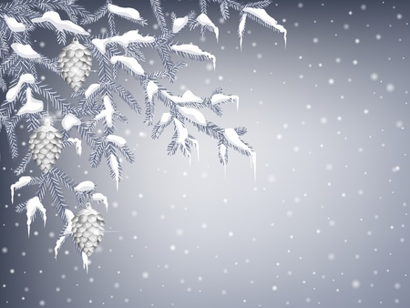 Winter background with  fir branches, pine cones and icicles Vector