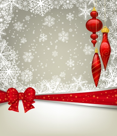 teardrop: Christmas background with baubles and ribbon