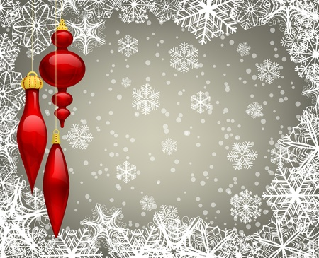 Christmas background with baubles and snowflakes Stock Illustratie